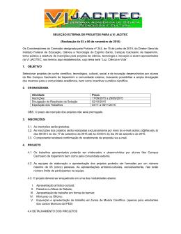 SELEÇÃO EXTERNA DE PROJETOS PARA A VI JACITEC