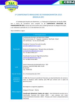 Carta Convite - I Campeonato Brasileiro de Parabadminton
