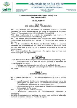 Regulamento Campeonato Universitário de Futebol Society