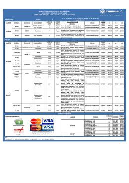 Armas - Tabela de preços (válida até 31/dez/2015)