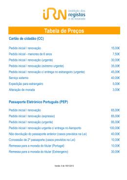 Tabela de preços CC e PEP