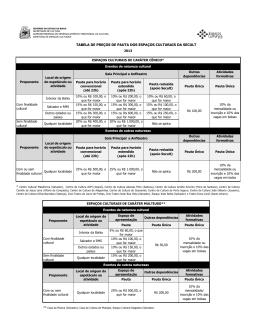 tabela de preços de pauta dos espaços culturais da secult