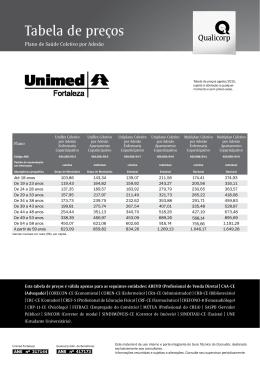 Tabela de preços - CRC-CE