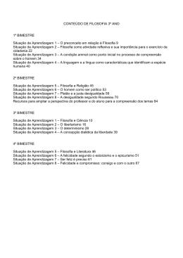 CONTEÚDO DE FILOSOFIA 3º ANO 1º BIMESTRE Situação de