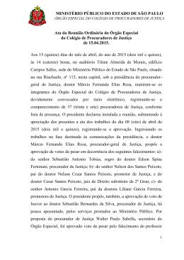 MINISTÉRIO PÚBLICO DO ESTADO DE SÃO PAULO Ata da