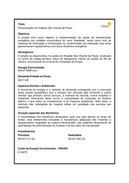 Título Eficientização do Hospital São Vicente de Paula