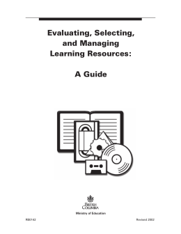 Evaluating, Selecting, and Managing Learning Resources: A Guide