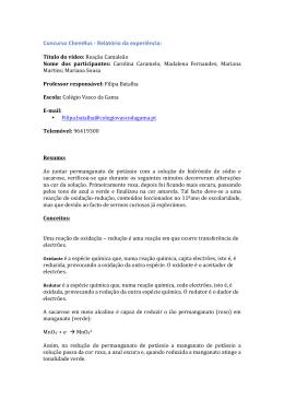 Concurso ChemRus -‐ Relatório da experiência: