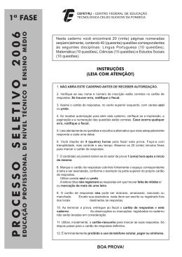 prova 1ª fase - CEFET/RJ – Portal de Notícias