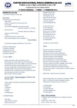 3º teste quinzenal 1º trimestre - 2014