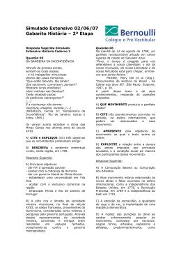 Simulado Extensivo 02/06/07 Gabarito História – 2ª Etapa
