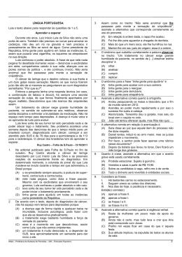 LÍNGUA PORTUGUESA Leia o texto abaixo para