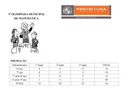 5ª olimpíada municipal de matemática premiação