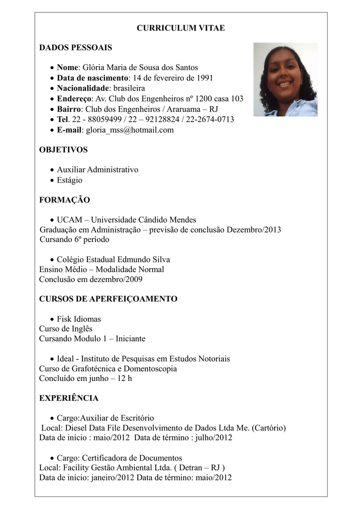 Curriculo Assistente Administrativo Em Ingles Ausreise Info