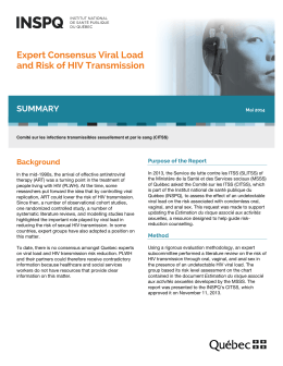 Expert Consensus Viral Load and Risk of HIV Transmission