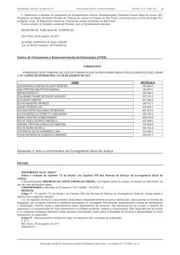 Subseção II: Atos e comunicados da Corregedoria Geral da