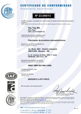 16/07/2013 Certificado ISO