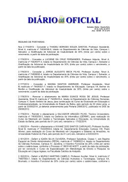 RESUMO DE PORTARIAS: Nos 2.174/2014 - Conceder a