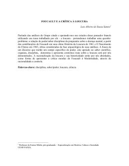 FOUCAULT E A CRÍTICA À LOUCURA Luis Alberto de