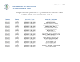 Relação Geral de Aprovados da Segunda Convocação SiSU