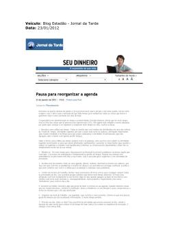 Veículo: Blog Estadão - Jornal da Tarde Data: 23/01/2012