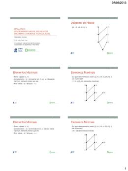 Diagrama de Hasse Elementos Maximais Elementos Maximais