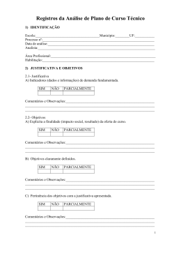 Registros da Análise de Plano de Curso Técnico