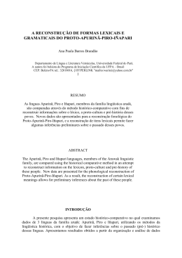 a reconstrução de formas lexicais e gramaticais do proto