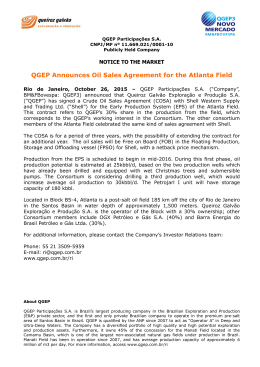 QGEP Announces Oil Sales Agreement for the Atlanta Field