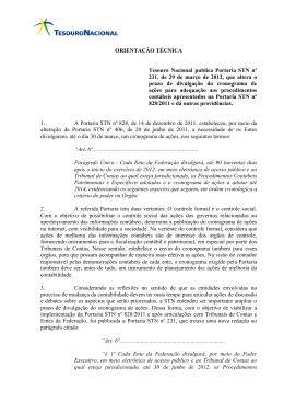 Orientação Técnica para a Portaria 231/2012