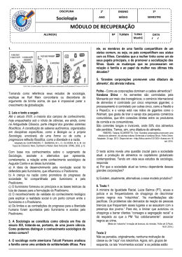 Sociologia MÓDULO DE RECUPERAÇÃO