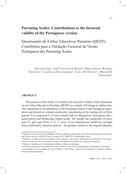 Parenting Scales: Contributions to the factorial validity of