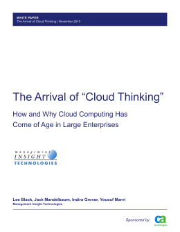 "The Arrival of ""Cloud Thinking"""