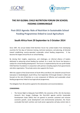 Read The 2014 Global Child Nutrition Forum Communiqué.