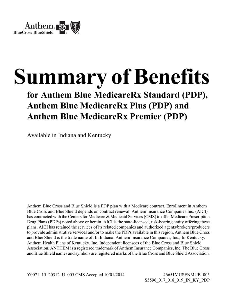 Summary of Benefits for Anthem Blue MedicareRx Standard (PDP
