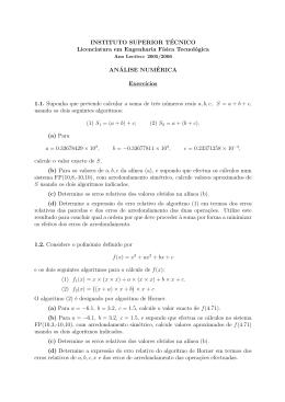 INSTITUTO SUPERIOR TÉCNICO Licenciatura em Engenharia F