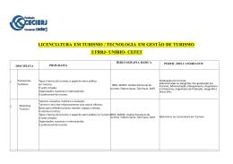 LICENCIATURA EM TURISMO / TECNOLOGIA EM GESTÃO DE