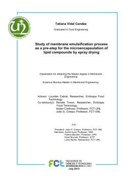 Study of membrane emulsification process as a pre-step for