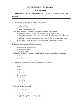 UNIVERSIDADE DOS AÇORES Curso Sociologia Matemática para
