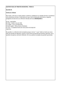 AUDITOR FISCAL DE TRIBUTOS MUNICIPAIS – PROVA A