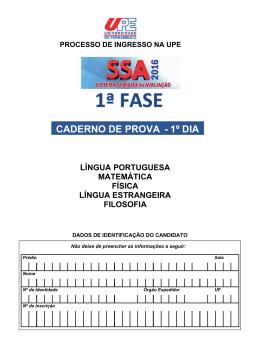 CADERNO DE PROVA - 1º DIA