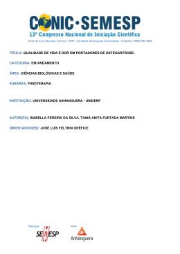 TÍTULO: QUALIDADE DE VIDA E DOR EM - O Conic
