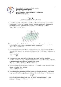 Física III Lista de exercícios 3 – Lei de Gauss