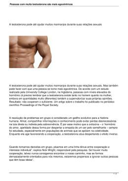 Pessoas com muita testosterona são mais egocêntricas