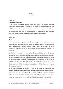 Artigo 49. Quadro regulamentar 1. Os direitos, deveres e faltas a