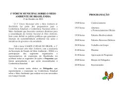 1º FÓRUM MUNICIPAL SOBRE O MEIO AMBIENTE DE BRASILÂNDIA