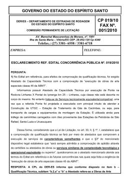 CP 019/10 FAX Nº. 001/2010 - DER-ES