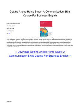 Getting Ahead Home Study: A Communication Skills Course For