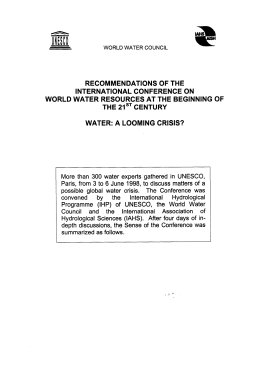 International Conference on World Water Resources at the