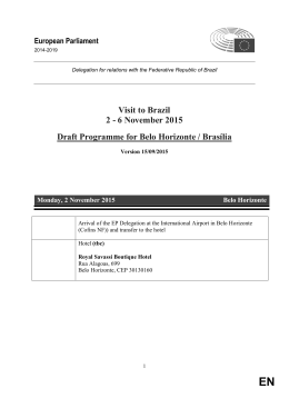 6 November 2015 Draft Programme for Belo Horizonte / Brasília